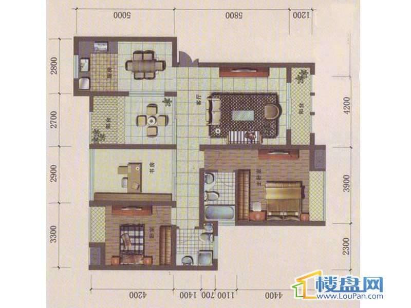 中天花园B2户型 3室2厅2卫1厨.00