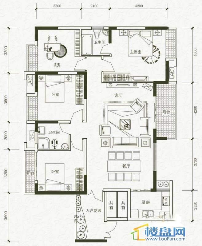中天花园御翠岭B1-5栋 3#跃层(上层)户型3室3厅4卫