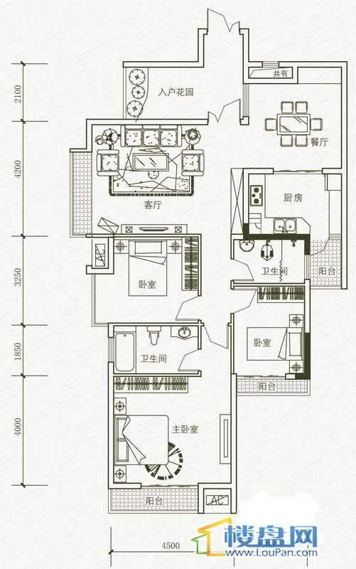 中天花园御翠岭B1-5栋标准层 3#户型3室2厅2卫