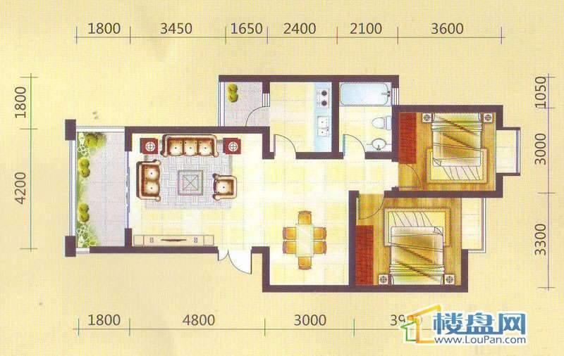 兴隆枫丹白鹭-白鹭洲二期户型图2室2厅1卫1厨