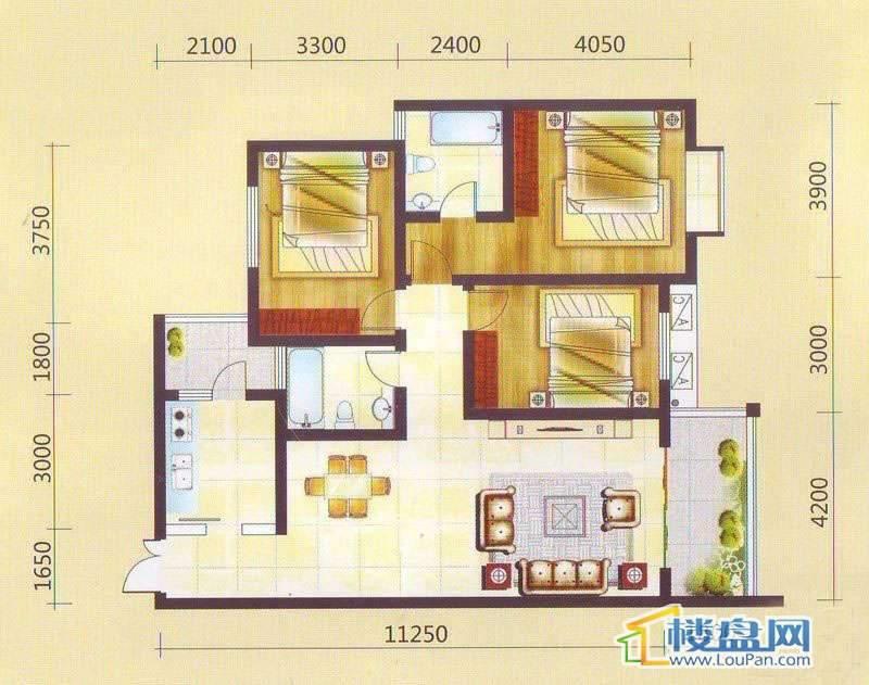 兴隆枫丹白鹭-白鹭洲二期户型3室2厅2卫1厨
