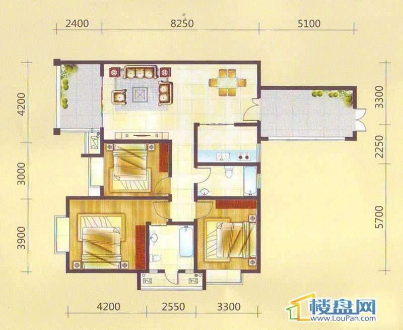 兴隆枫丹白鹭-白鹭洲二期户型图3室2厅2卫1厨