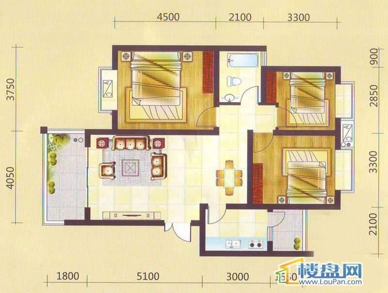 兴隆枫丹白鹭-白鹭洲二期户型图3室2厅1卫1厨