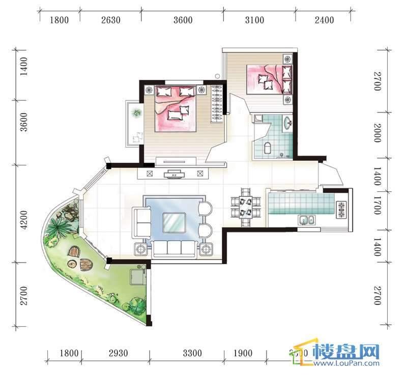 腾龙湾A1-3、4栋A户型2室2厅1卫1厨