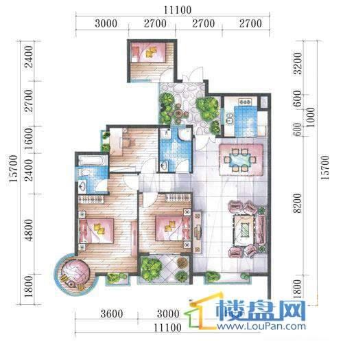 腾龙湾A1-14栋(A户型偶数层)4室2厅2卫1厨