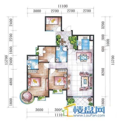 腾龙湾A1-14栋(A户型奇数层)4室2厅2卫1厨