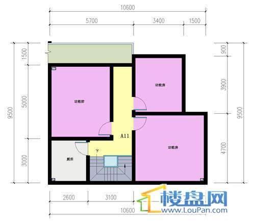 山语馨苑A11户型夹层4室3厅2卫1厨