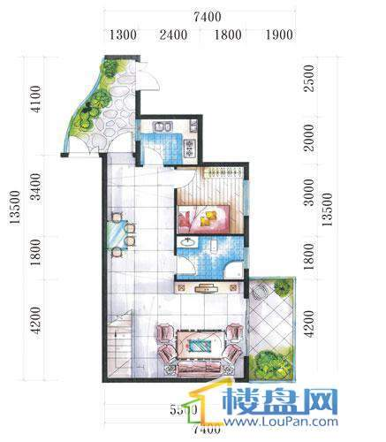 腾龙湾A1-14栋(B户型复式)下层4室3厅2卫1厨