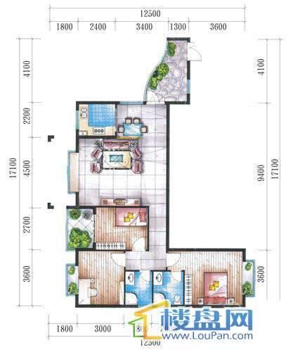 腾龙湾A1-14栋(C户型偶数层)3室2厅2卫1厨