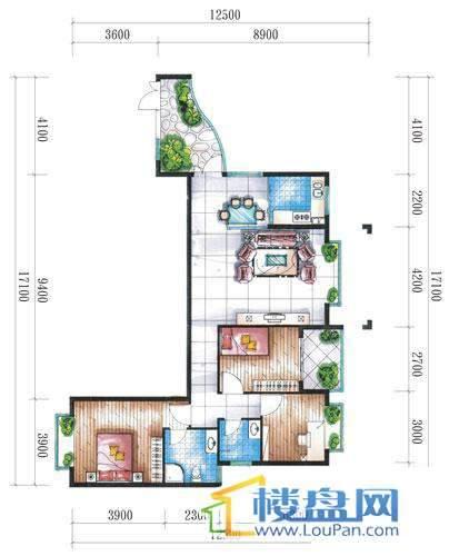 腾龙湾A1-14栋(D户型偶数层)3室2厅2卫1厨