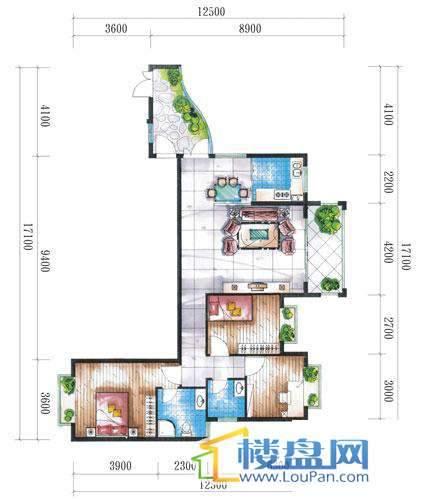 腾龙湾A1-14栋(D户型奇数层)3室2厅2卫1厨