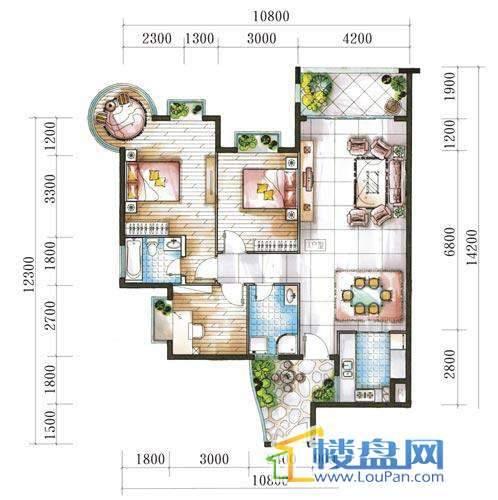 腾龙湾A1-10栋、13栋(A户型奇数层)3室2厅2卫1厨