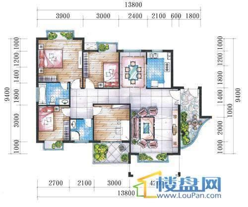 腾龙湾A1-10栋、13栋(B户型偶数层)4室2厅2卫1厨