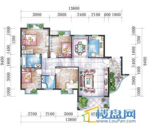 腾龙湾A1-10栋、13栋(B户型奇数层)4室2厅2卫1厨