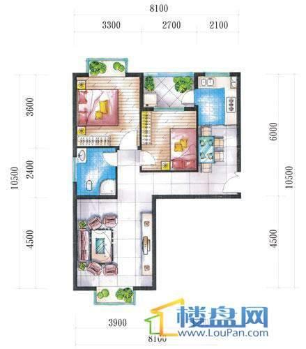 腾龙湾A1-8栋、9栋(D户型)2室2厅1卫1厨
