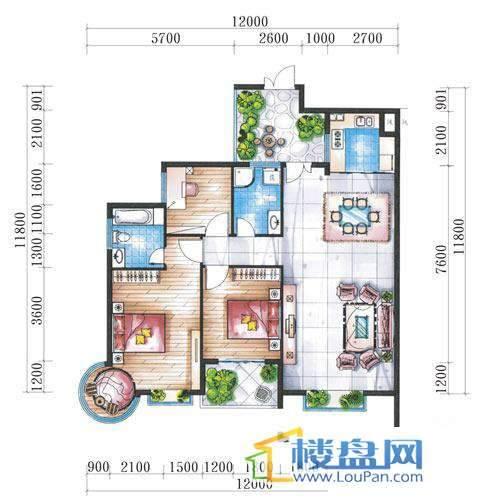 腾龙湾A1-8栋、9栋(A户型偶数层)3室2厅2卫1厨