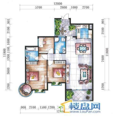 腾龙湾A1-8栋、9栋(A户型奇数层)3室2厅2卫1厨