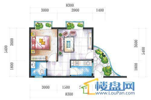 腾龙湾A1-8栋、9栋(C户型)1室2厅1卫1厨