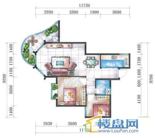 腾龙湾A1-3栋、4栋(A户型)2室2厅1卫1厨