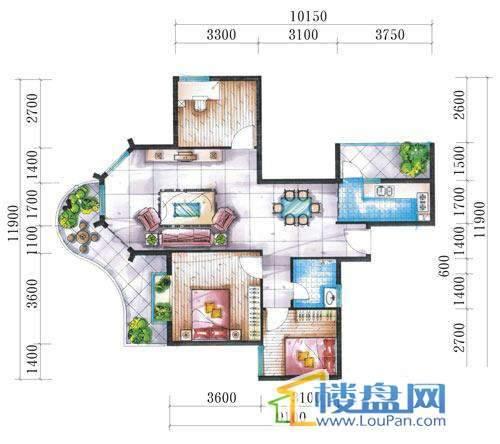 腾龙湾A1-1栋、2栋(A户型奇数层)3室2厅2卫1厨