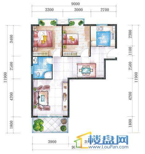 腾龙湾A1-1栋、2栋(B户型)2室2厅1卫1厨