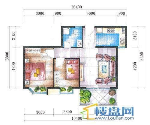 腾龙湾A1-1栋、2栋(C户型)2室2厅1卫1厨