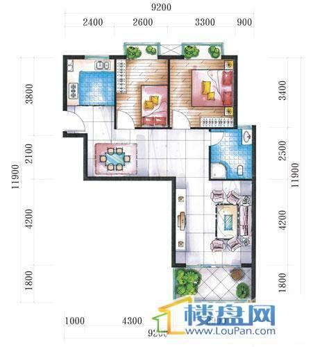 腾龙湾A1-1栋、2栋(D户型)2室2厅1卫1厨