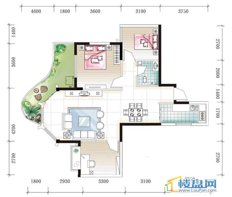 腾龙湾A1-3、4栋C户型3室2厅1卫1厨