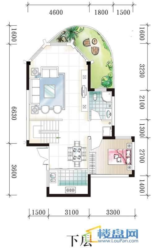 腾龙湾A1-3、4栋B户型下层3室2厅2卫1厨