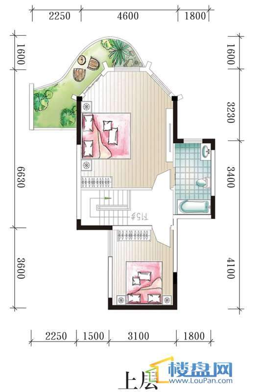 腾龙湾A1-3、4栋B户型上层3室2厅2卫1厨
