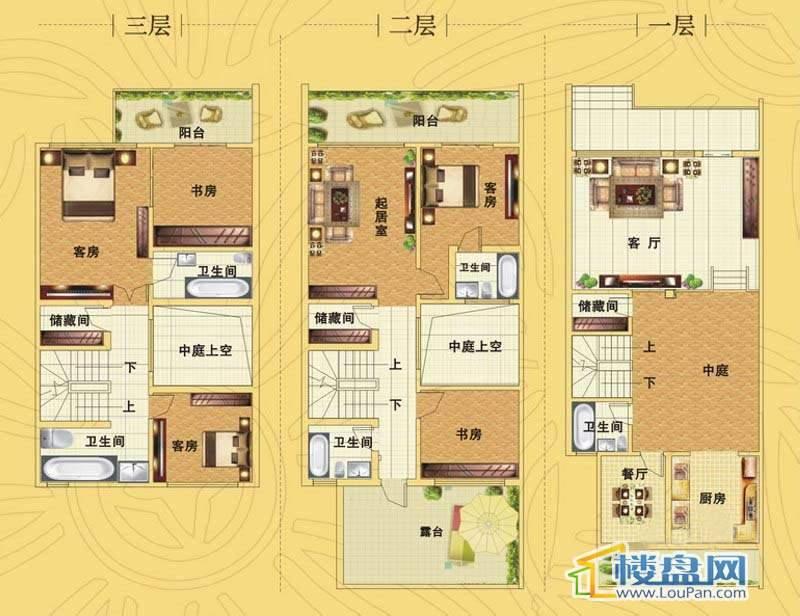 藏珑D26-D38栋经典户型一、二、三层5室2厅5卫