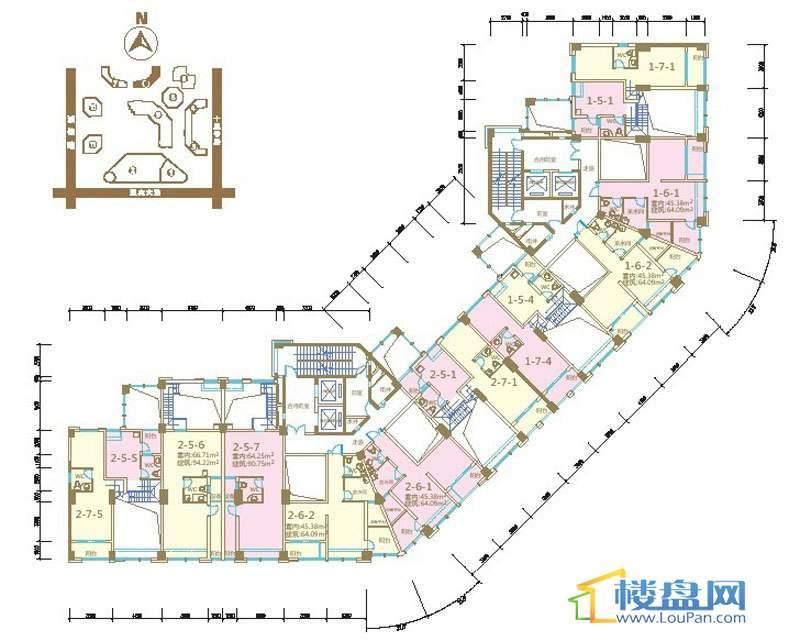 绿地联盛国际乐郡公寓6号楼5-29层平面户型图