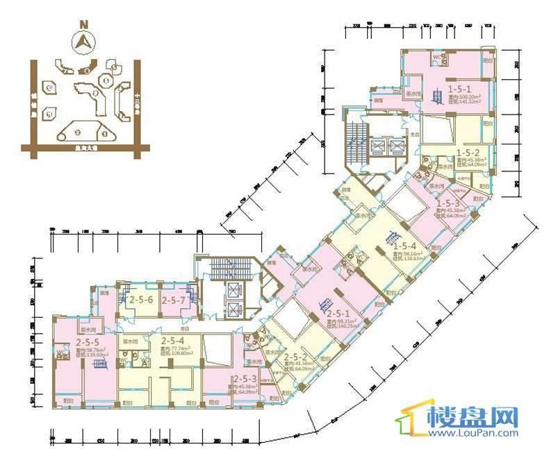 绿地联盛国际乐郡公寓6号楼7-31层平面户型图