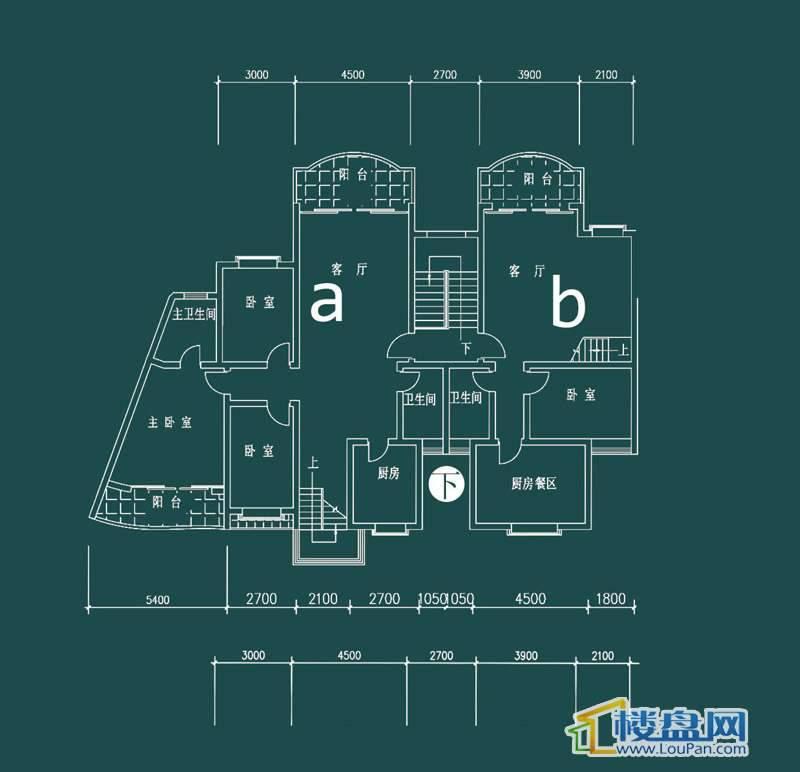 祥和家园三期嘉院C栋二单元A、B户型(跃层)-下层5室2厅3卫1厨
