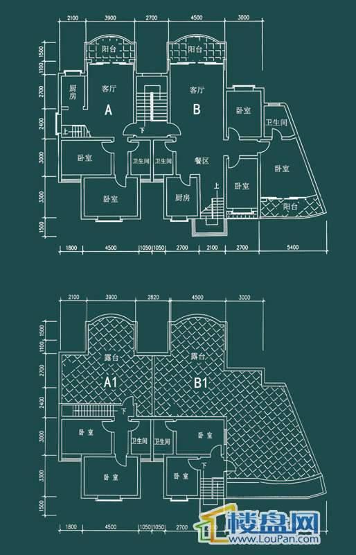 祥和家园三期嘉院C栋三单元A1、B1户型(跃层)4室2厅2卫1厨