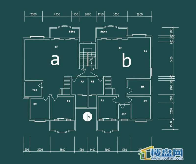 祥和家园三期嘉院D栋三单元A、B户型(跃层)-下层4室2厅2卫1厨