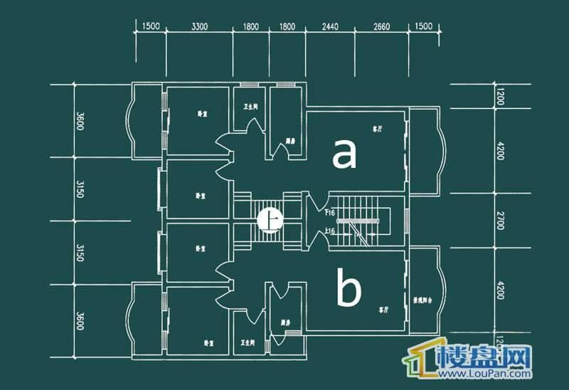 祥和家园三期嘉院D栋一单元A、B户型(跃层)-上层4室2厅2卫1厨
