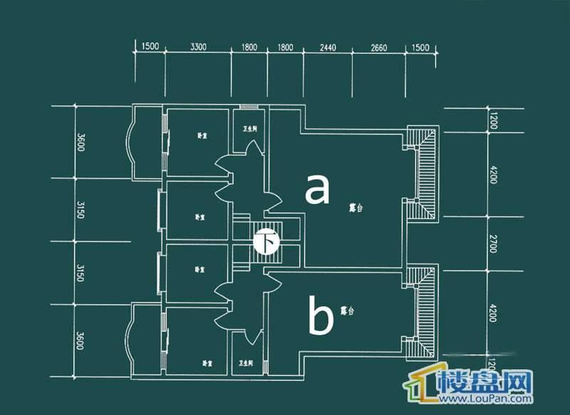 祥和家园三期嘉院D栋一单元A、B户型(跃层)-下层4室2厅2卫1厨