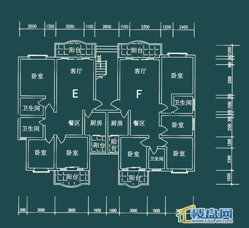 祥和家园三期嘉院D栋一单元E、F户型4室2厅2卫1厨