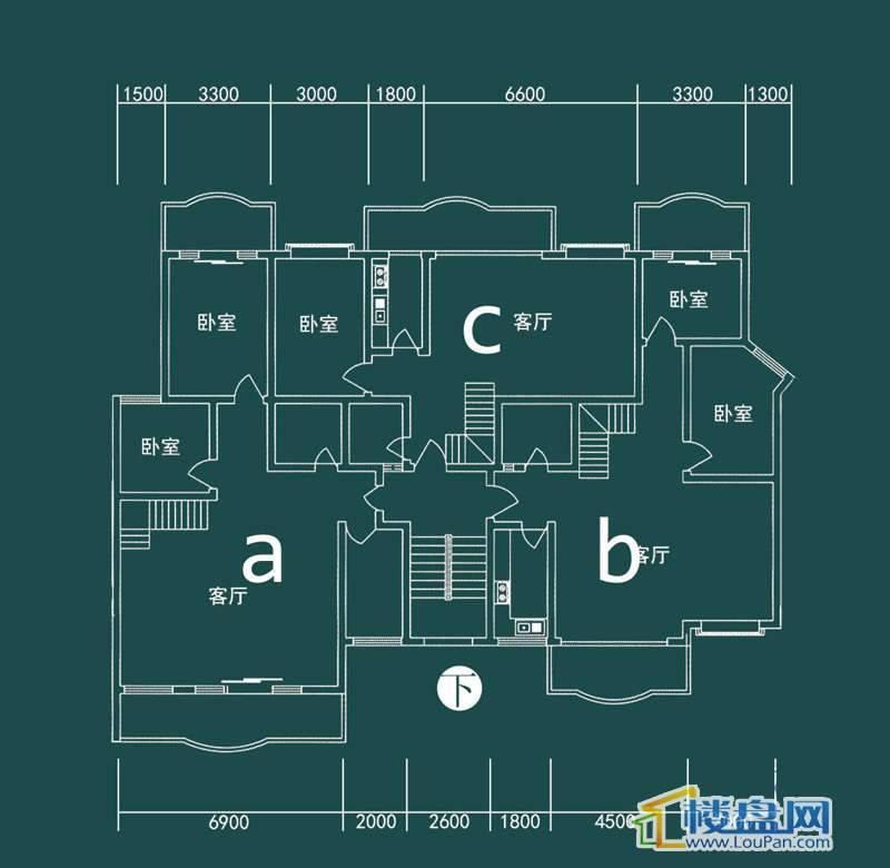 祥和家园三期嘉院E栋二单元A、B、C(跃层)下层4室2厅2卫1厨