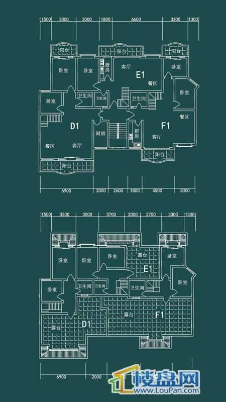 祥和家园三期嘉院E栋二单元D1、E1、F1户型4室2厅2卫1厨