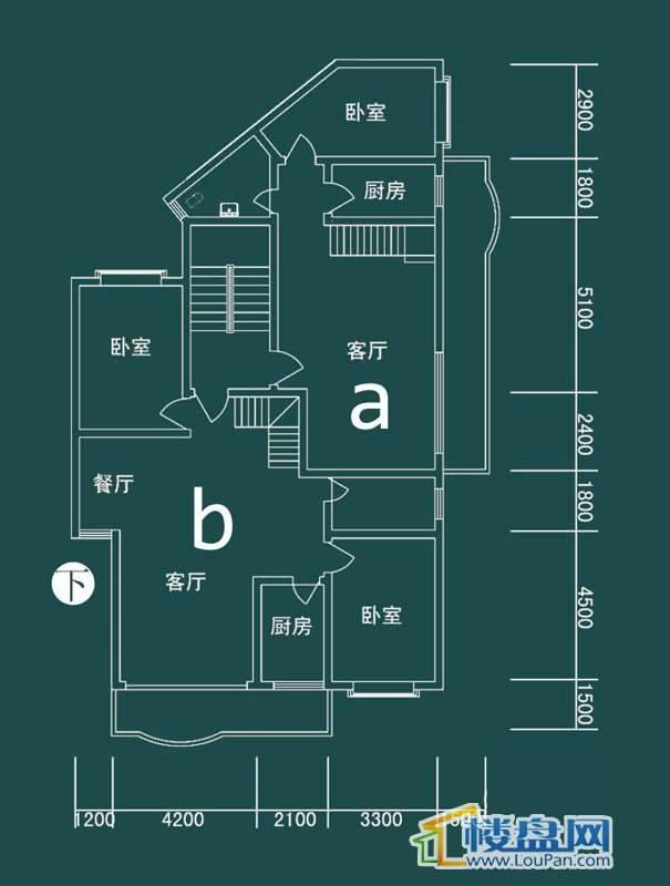 祥和家园三期嘉院E栋三单元A、B户型(跃层)-下层3室2厅2卫1厨