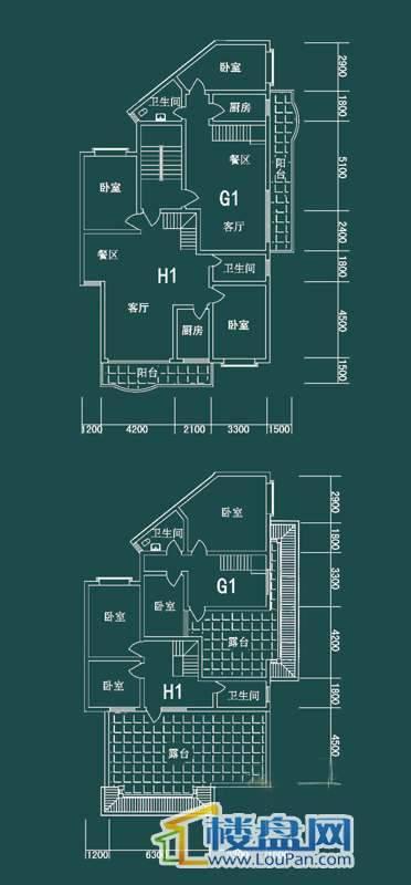 祥和家园三期嘉院E栋三单元G1、H1户型4室2厅2卫1厨