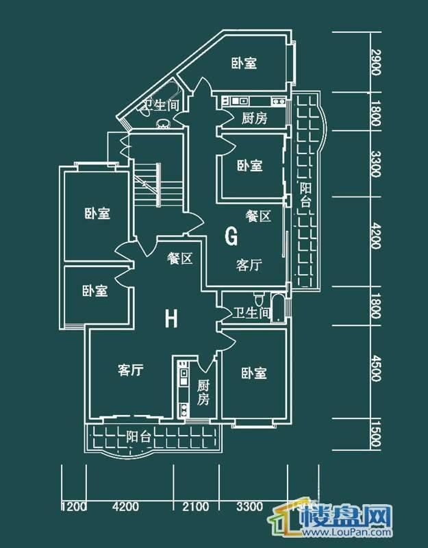 祥和家园三期嘉院E栋三单元G、H户型2室2厅1卫1厨