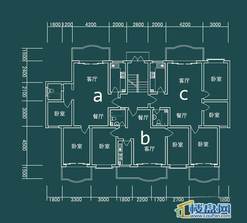 祥和家园三期嘉院E栋四单元A、B、C户型2室2厅1卫1厨