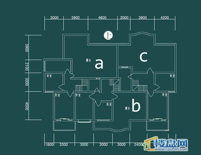 祥和家园三期嘉院E栋四单元A、B、C户型(跃层)-上层4室2厅2卫1厨