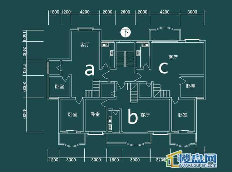 祥和家园三期嘉院E栋四单元A、B、C户型(跃层)-下层4室2厅2卫1厨