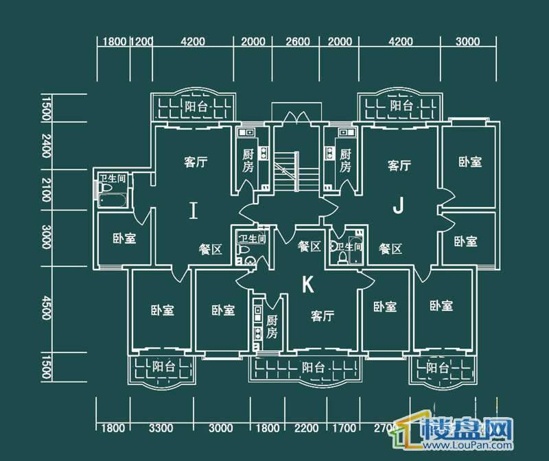 祥和家园三期嘉院E栋四单元I、J、K户型3室2厅1卫1厨
