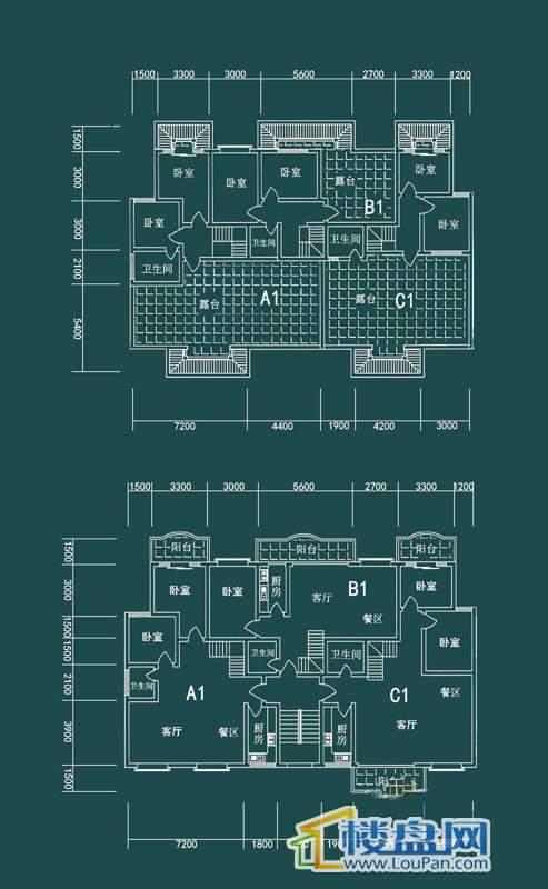 祥和家园三期嘉院E栋一单元A1、B1、C1户型4室2厅2卫1厨