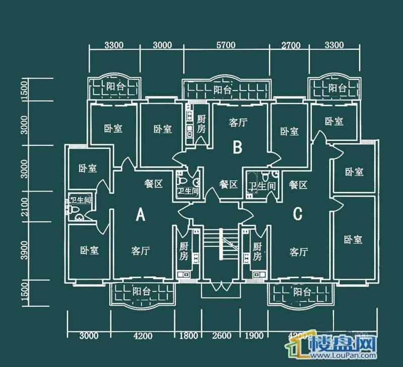 祥和家园三期嘉院E栋一单元A、B、C户型3室2厅1卫1厨